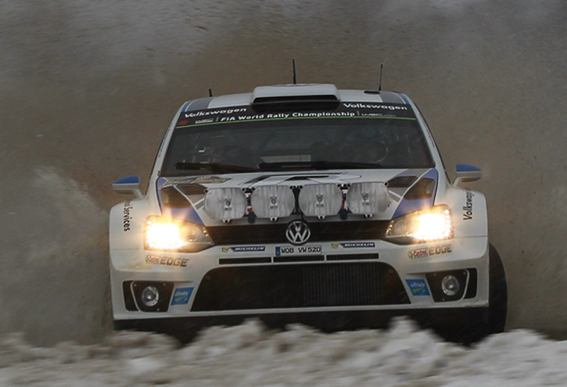 THREE-WAY LEAD FOR VOLKSWAGEN AT THE RALLY WINTER GAMES IN SWEDEN