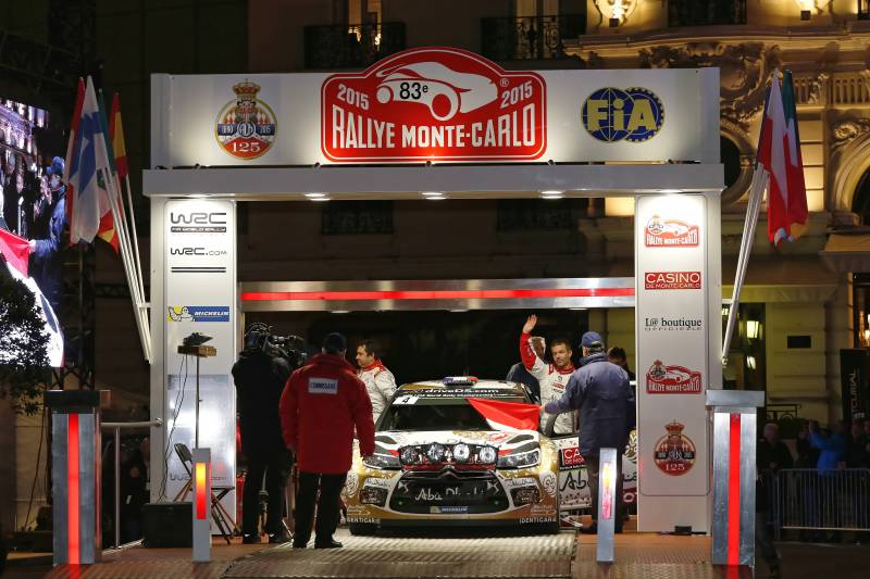 FIA WORLD RALLY CHAMPIONSHIP 2015:  CITROËN TOTAL ABU DHABI WORLD RALLY TEAM-SÉBASTIEN LOEB AND DANIEL ELENA LEAD THE RALLYE MONTE-CARLO!