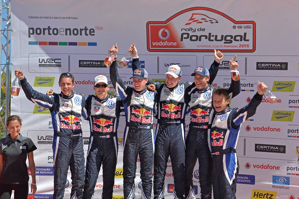 FIA WORLD RALLY CHAMPIONSHIP (WRC 2015): VOLKSWAGEN RED BULL MOTORSPORT- ONE-TWO-THREE WIN! LATVALA, OGIER AND MIKKELSEN CELEBRATE TRIUMPHANT RALLY PORTUGAL FOR VOLKSWAGEN