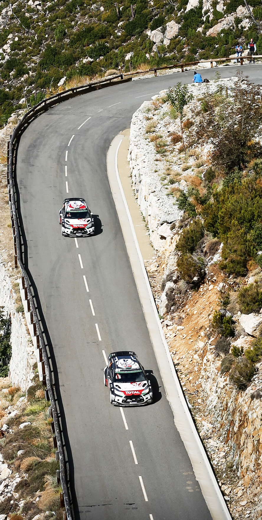 WRC TOUR DE CORSE  2015  - PHOTO : CITROEN RACING/AUSTRAL  03 Citroen Total Abu Dhabi WRT, Meeke Kris, Nagle Paul, DS3 WRC, 04 Citroen Total Abu Dhabi WRT, Ostberg Mads , Anderson Jonas, DS3 WRC, Action