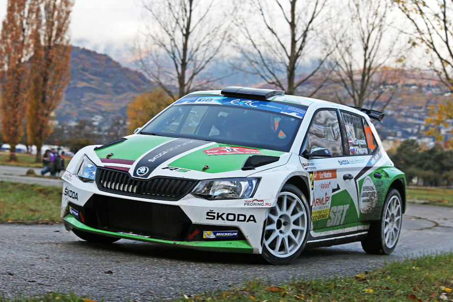12 GRYAZIN Nikolay FEDOROV Yaroslav Skoda Fabia R5 action during the 2015 European Rally Championship ERC Valais rally,  from October 29 to 31th, at Sion, Switzerland. Photo Gregory Lenormand / DPPI