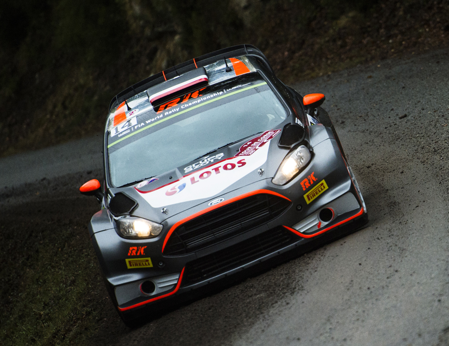 Robert Kubica races during  FIA World Rally Championship in Corte, France on 1 October 2015