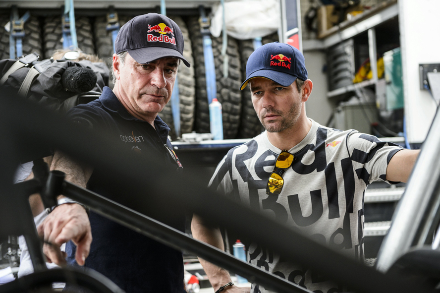 Carlos Sainz and Sebastien Loeb talk during the rest day of Dakar Rally in Salta, Argentina on January 11th, 2014 // Marcelo Maragni/Red Bull Content Pool // P-20140111-00122 // Usage for editorial use only // Please go to www.redbullcontentpool.com for further information. //