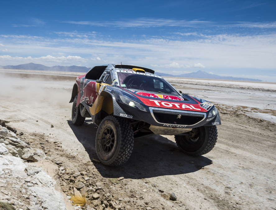 Stephane Peterhansel (FRA) of Team Peugeot-Total races during stage 06 of Rally Dakar 2016 around Uyuni, Bolivia on January 8, 2016