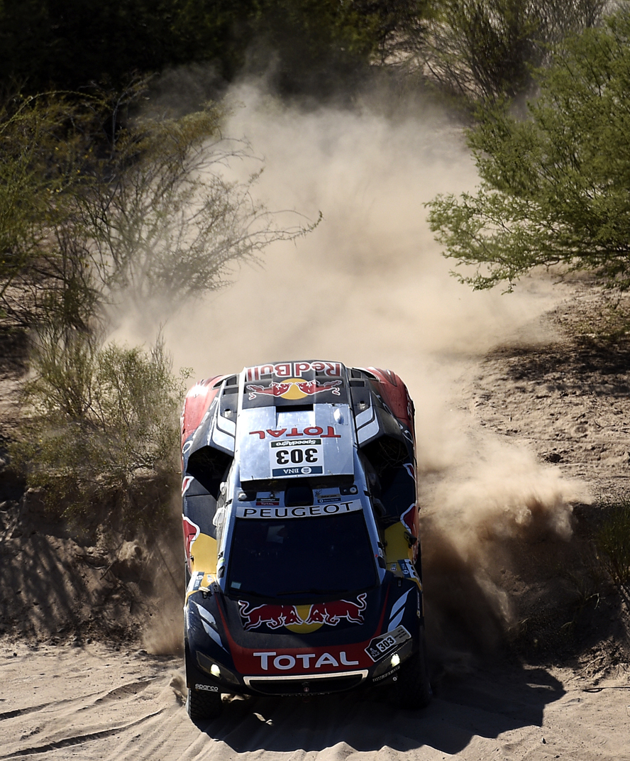 303 SAINZ Carlos (spa) CRUZ Lucas (spa) PEUGEOT action during the Dakar 2016 Argentina,  Bolivia, Etape 9 / Stage 9, Belen - Belen,  from  January 12, 2016