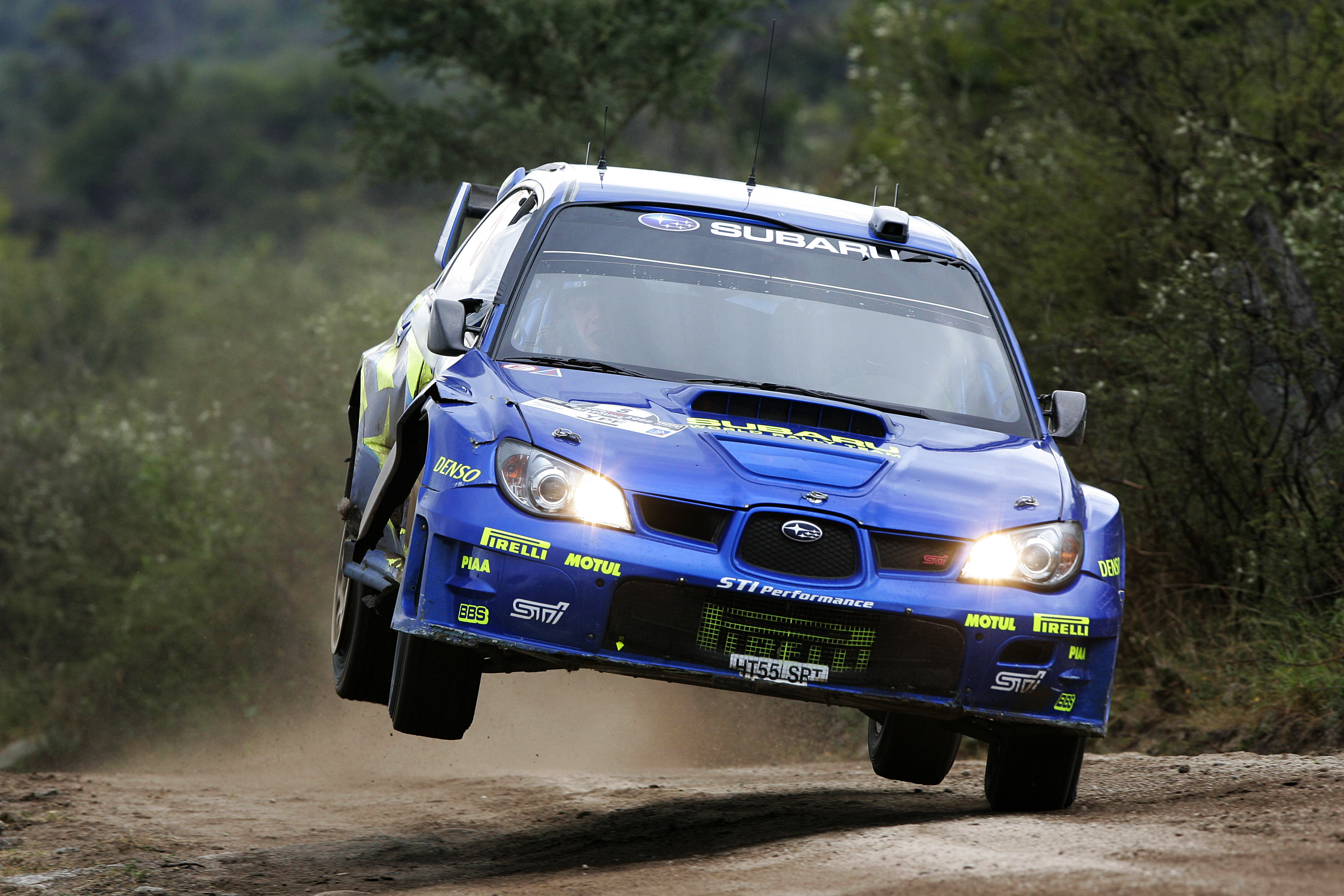 Subaru driver Petter Solberg in action on SS9 during leg one, Rally Argentina 2006.