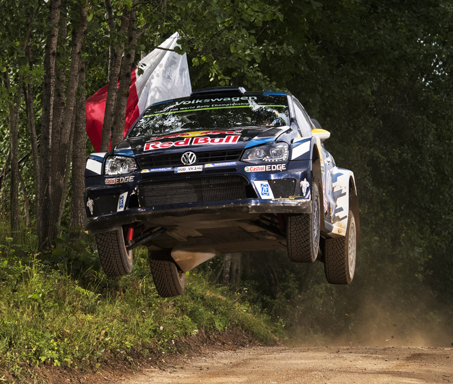 Andreas Mikkelsen (NOR)  performs during  FIA World Rally Championship 2016 Poland in Mikolajki, Poland on July 1, 2016