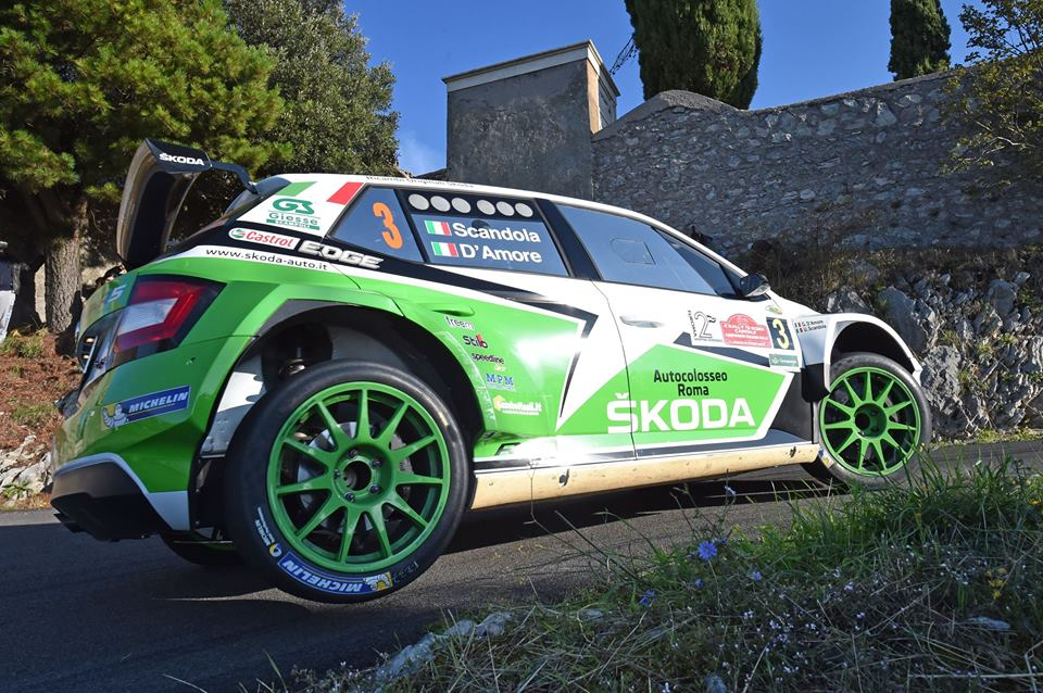 UMBERTO SCANDOLA AND GUIDO D'AMORE, SKODA FABIA R5, WIN THE 4TH RALLY ROMA CAPITALE