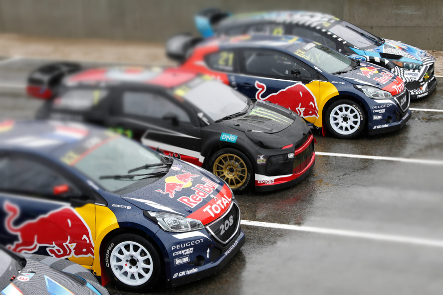 Team Peugeot Hansen  at the FIA World RallyCross Championship Montalegre Circuit in Portugal on the 15th April 2016