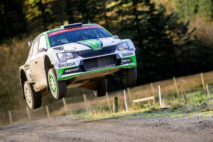 ŠKODA'S WRC 2 CHAMPION PONTUS TIDEMAND LEADING IN WALES – JUUSO NORDGREN SEVENTH