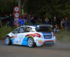 ITALIAN RALLY CHAMPIONSHIP (CIR) 2015: PAOLO ANDREUCCI AND ANNA ANDREUSSI, PEUGEOT 208 T16 R5, END ON TOP DAY ONE OF THE 62ND RALLYE SANREMO
